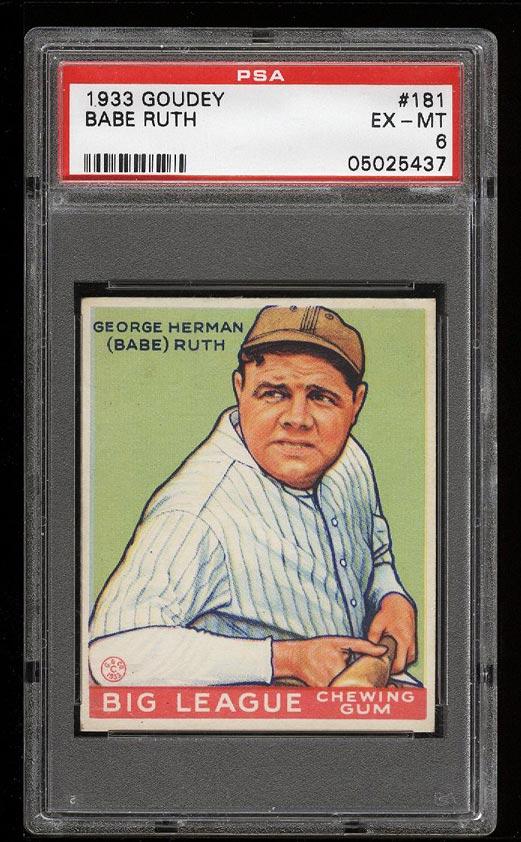 Image of: 1933 Goudey Babe Ruth #181 PSA 6 EXMT (PWCC)