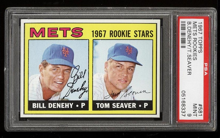 Image of: 1967 Topps Tom Seaver ROOKIE RC #581 PSA 9 MINT (PWCC)