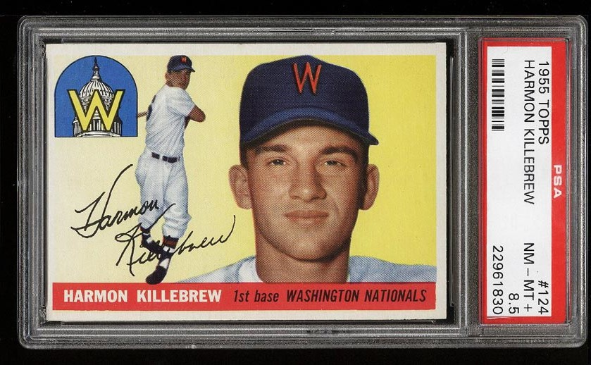 Image of: 1955 Topps Harmon Killebrew ROOKIE RC #124 PSA 8.5 NM-MT+ (PWCC)