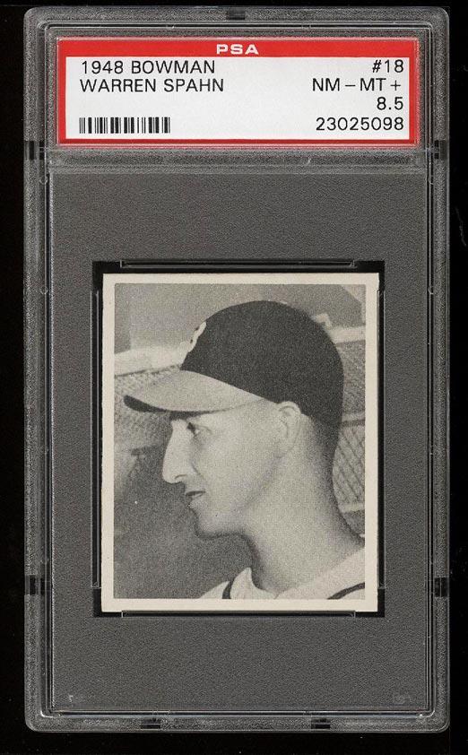 Image of: 1948 Bowman Warren Spahn ROOKIE RC #18 PSA 8.5 NM-MT+ (PWCC)