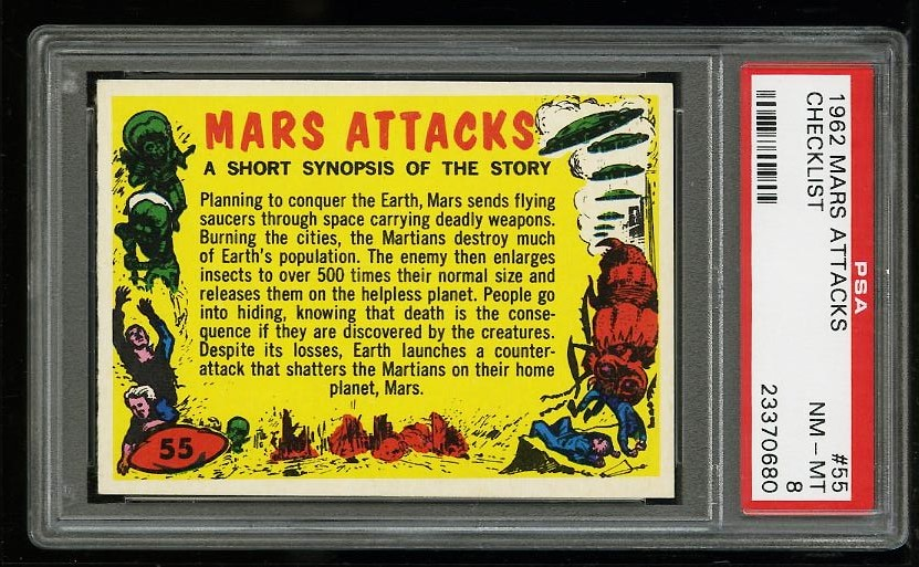 Image of: 1962 Topps Mars Attacks Checklist #55 PSA 8 NM-MT (PWCC)