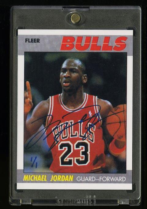 Image of: 1987 Fleer Basketball Autographed Buyback Michael Jordan AUTO 1/1 #59 (PWCC)