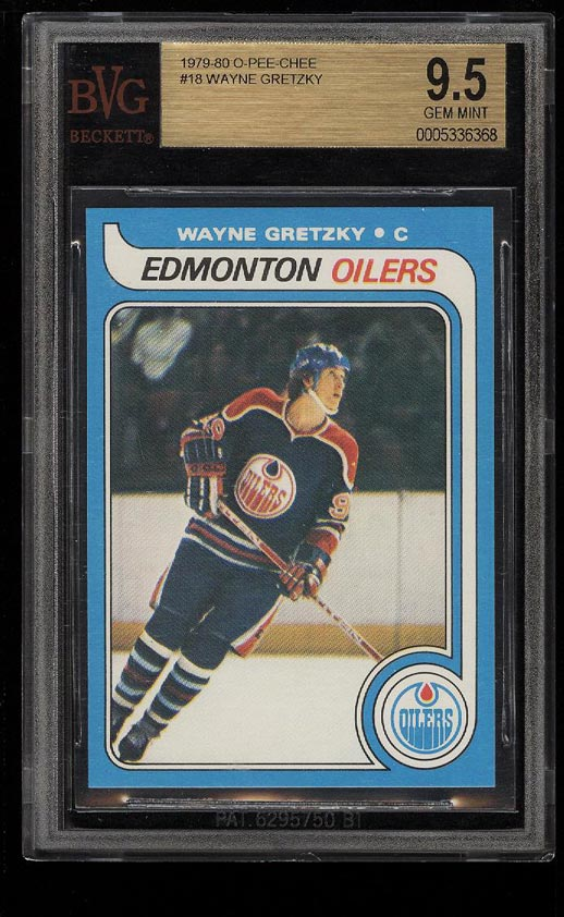 Image of: 1979 O-Pee-Chee Hockey Wayne Gretzky ROOKIE RC #18 BVG 9.5 GEM MINT (PWCC)