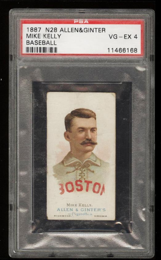 Image of: 1888 N28 Allen & Ginter Mike King Kelly PSA 4 VGEX (PWCC)