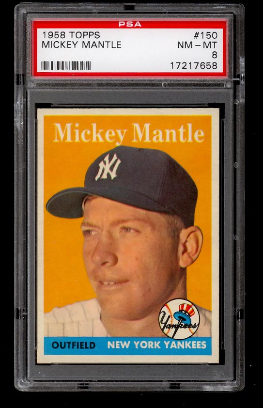 Image of: 1958 Topps Mickey Mantle #150 PSA 8 NM-MT (PWCC)