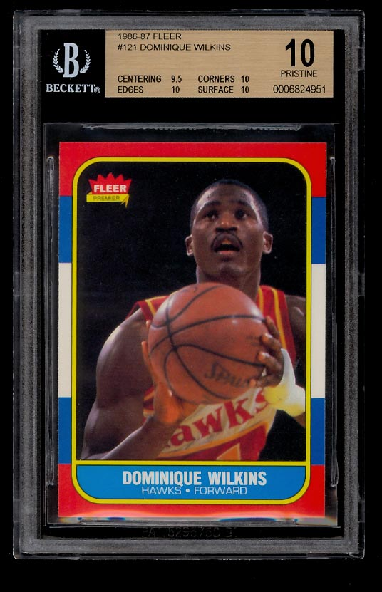 Image of: 1986 Fleer Basketball Dominique Wilkins ROOKIE RC #121 BGS 10 PRISTINE (PWCC)