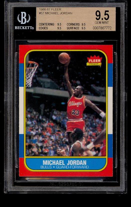 Image of: 1986 Fleer Basketball Michael Jordan ROOKIE RC #57 BGS 9.5 GEM MINT (PWCC)