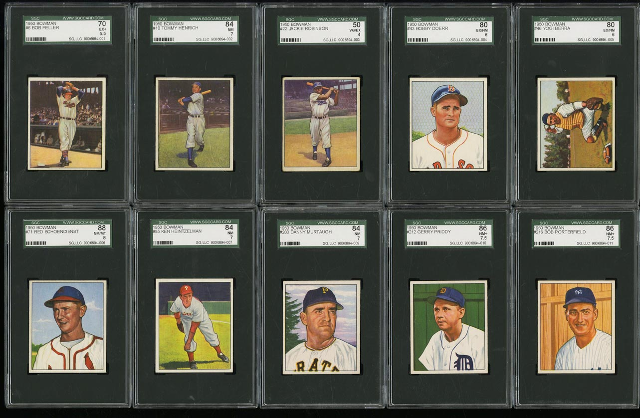 Image of: 1950 Bowman Mid-Hi Grade COMPLETE SET Jackie Robinson Ted Williams Berra (PWCC)