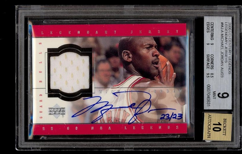 Image of: 2000 UD Century Legends Legendary Jerseys Michael Jordan AUTO 23/23 BGS 9 (PWCC)