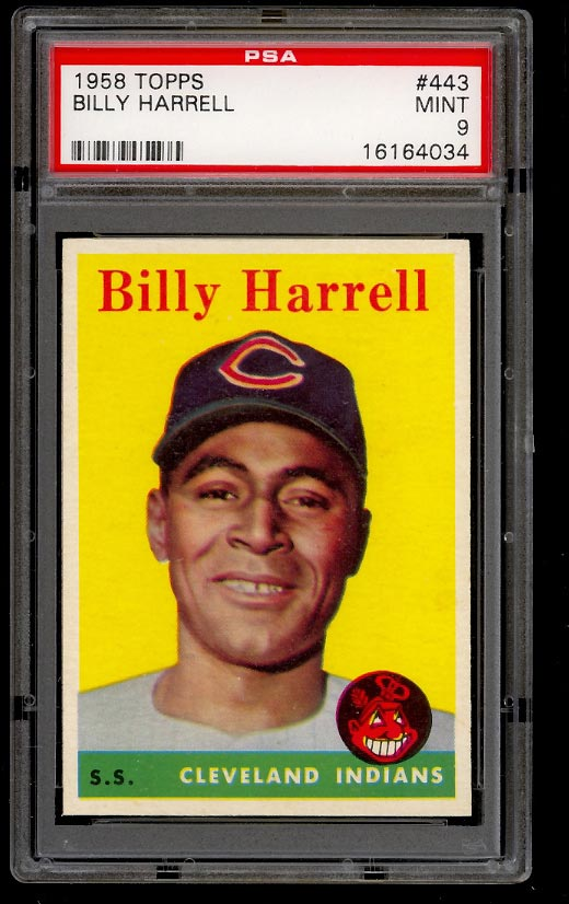 Image of: 1958 Topps Billy Harrell SHORT PRINT #443 PSA 9 MINT (PWCC)