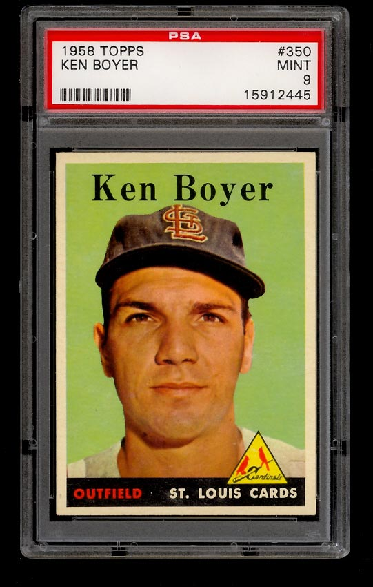 Image of: 1958 Topps Ken Boyer #350 PSA 9 MINT (PWCC)