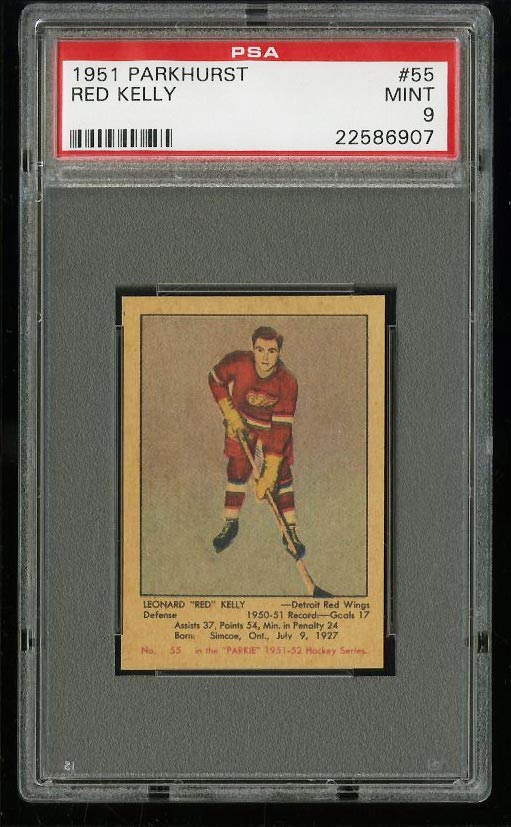 Image of: 1951 Parkhurst Red Kelly ROOKIE RC #55 PSA 9 MINT (PWCC)
