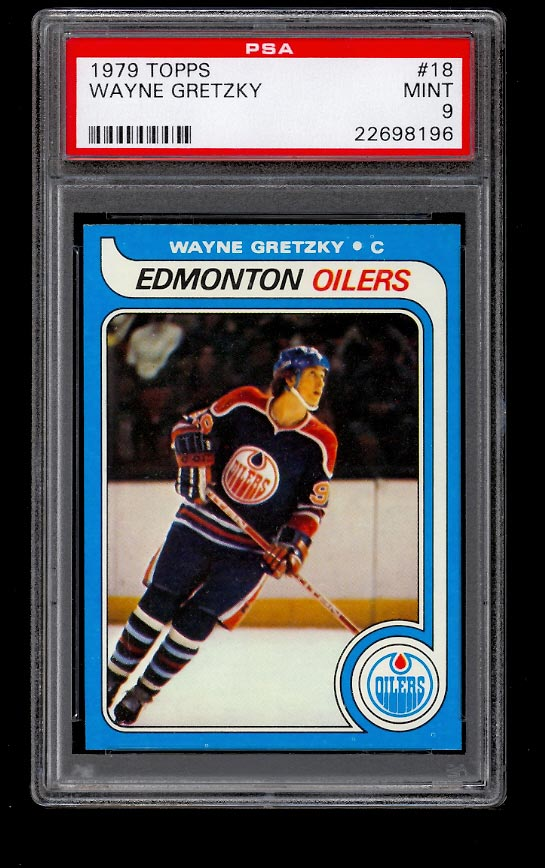 Image of: 1979 Topps Hockey Wayne Gretzky ROOKIE RC #18 PSA 9 MINT (PWCC)