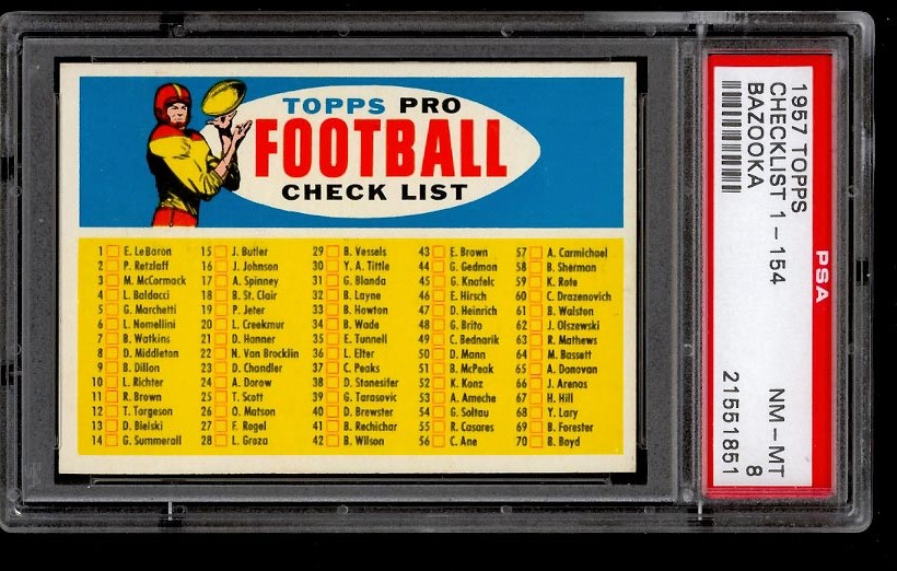 Image of: 1957 Topps Football SETBREAK Checklist 1-154 BAZOOKA PSA 8 NM-MT - RARE (PWCC)