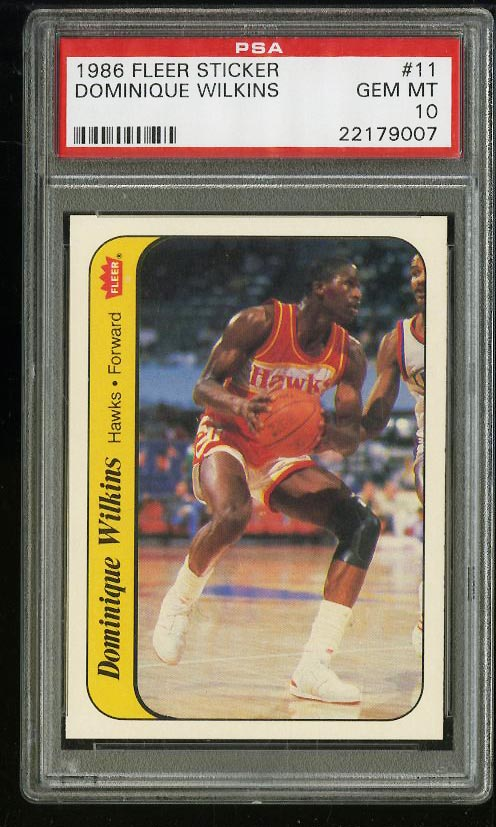 Image of: 1986 Fleer Stickers Dominique Wilkins ROOKIE RC #11 PSA 10 GEM MINT (PWCC)