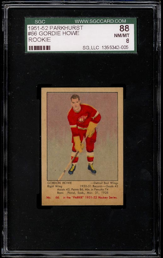 Image of: 1951 Parkhurst Gordie Howe ROOKIE RC #66 SGC 8 NM-MT (PWCC)