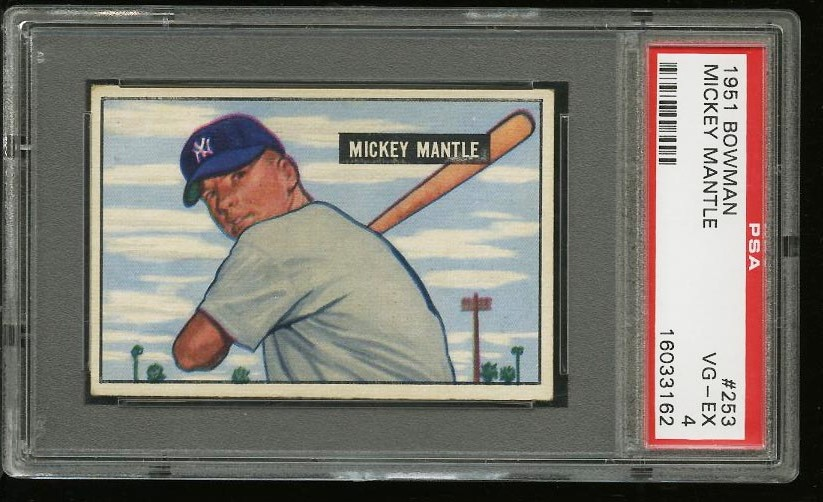 Image of: 1951 Bowman Mickey Mantle ROOKIE RC #253 PSA 4 VGEX (PWCC)