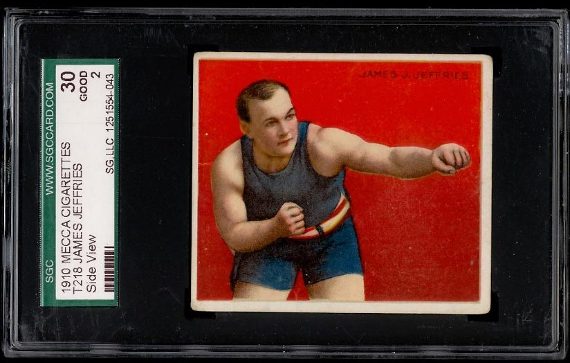 Image of: 1910 T218 Mecca Boxing James Jeffries SIDE VIEW SGC 2 GOOD (PWCC)