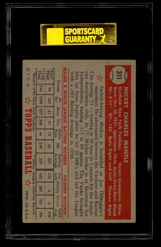 1952 Topps Mickey Mantle #311 SGC 5 EX (PWCC) - Image 2