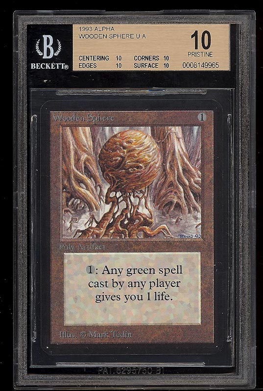 Image of: 1993 Magic The Gathering Alpha Wooden Sphere U A BGS 10 PRISTINE (PWCC)