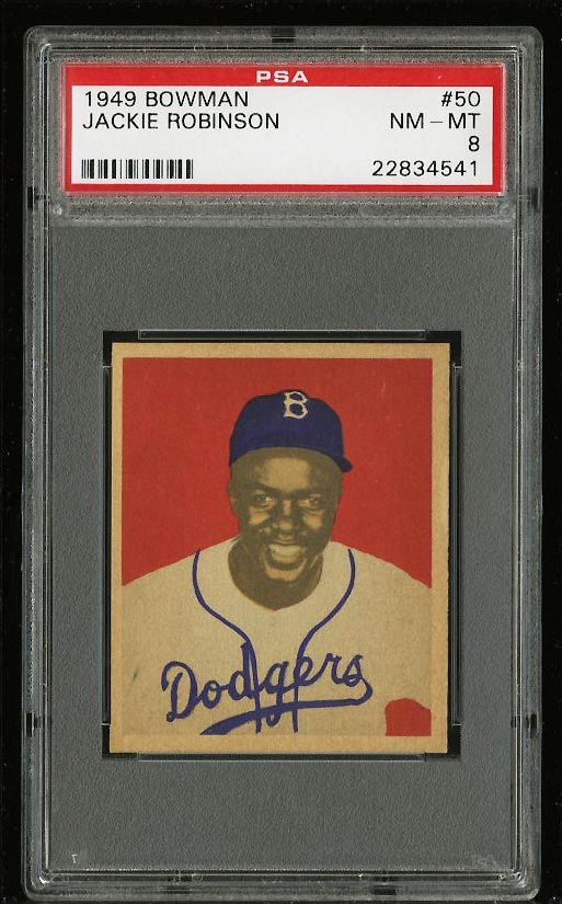 Image of: 1949 Bowman Jackie Robinson ROOKIE RC #50 PSA 8 NM-MT (PWCC)