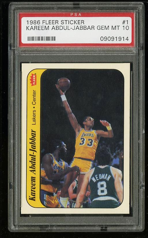 Image of: 1986 Fleer Sticker Basketball Kareem Abdul-Jabbar #1 PSA 10 GEM MINT (PWCC)