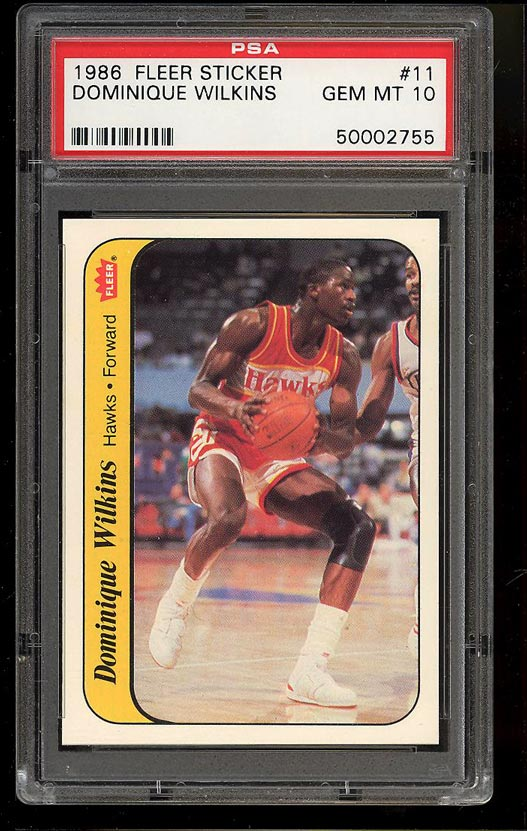 Image of: 1986 Fleer Sticker Basketball Dominique Wilkins ROOKIE RC #11 PSA 10 GEM (PWCC)