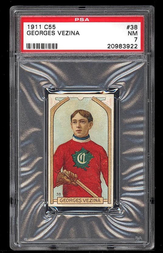 Image of: 1911 C55 Hockey Georges Vezina ROOKIE RC #38 PSA 7 NRMT (PWCC)