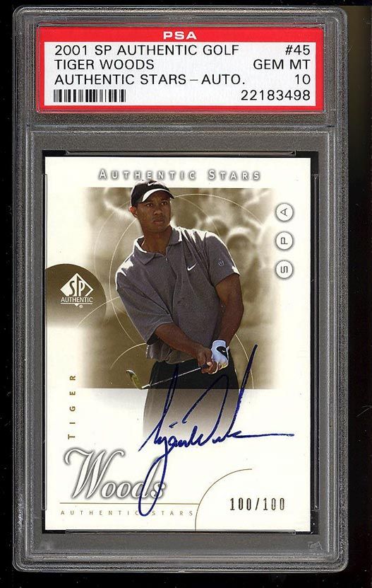 Image of: 2001 SP Authentic Gold Tiger Woods ROOKIE RC AUTO 100/100 #45 PSA 10 GEM (PWCC)