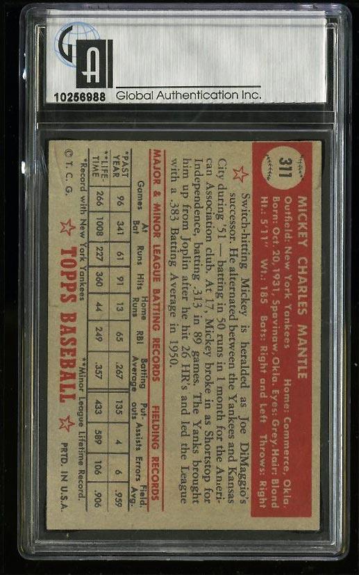 1952 Topps Mickey Mantle #311 GAI 4.5 VGEX+ (PWCC) - Image 2
