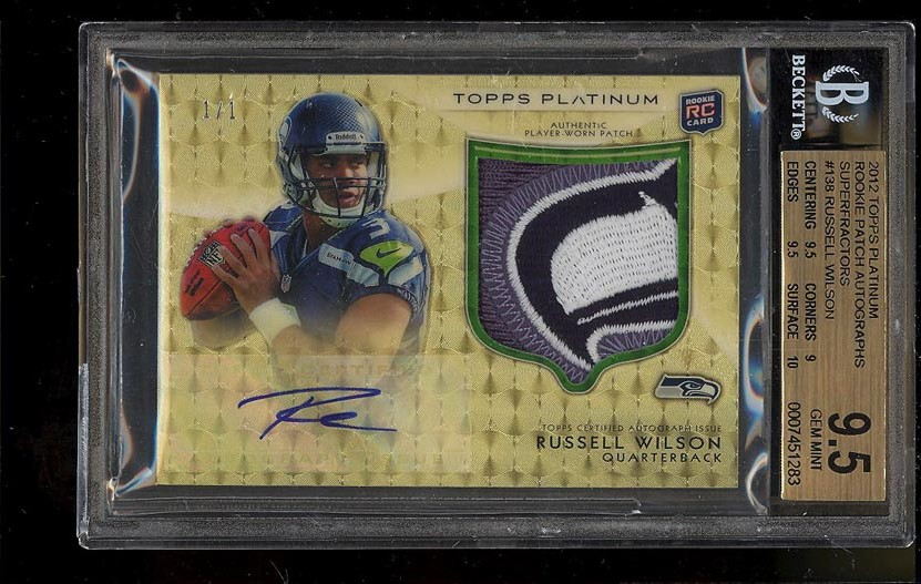 Image of: 2012 Topps Platinum Patch Superfractor Russell Wilson AUTO RC 1/1 BGS 9.5 (PWCC)