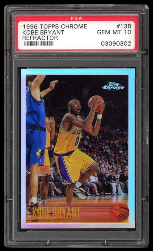 Image of: 1996 Topps Chrome Refractor Kobe Bryant ROOKIE RC #138 PSA 10 GEM MINT (PWCC)