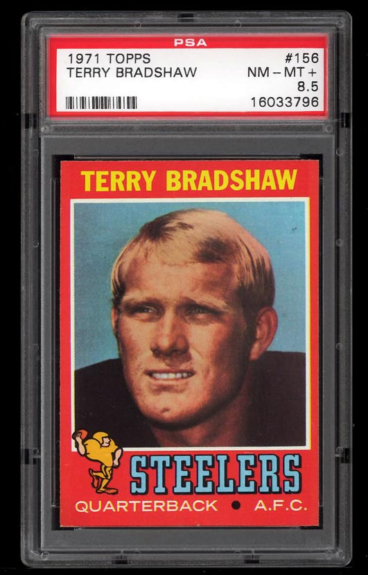Image of: 1971 Topps Football Terry Bradshaw ROOKIE RC #156 PSA 8.5 NM-MT+ (PWCC)