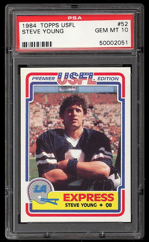 Image of: 1984 Topps USFL Steve Young ROOKIE RC #52 PSA 10 GEM MINT (PWCC)