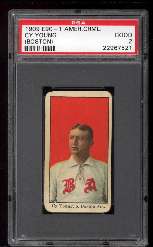 Image of: 1909 E90-1 American Caramel Cy Young BOSTON PSA 2 GD (PWCC)