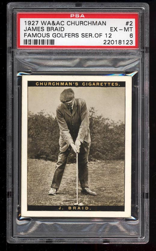 Image of: 1927 Churchman Famous Golfers Series 12 James Braid #2 PSA 6 EXMT (PWCC)