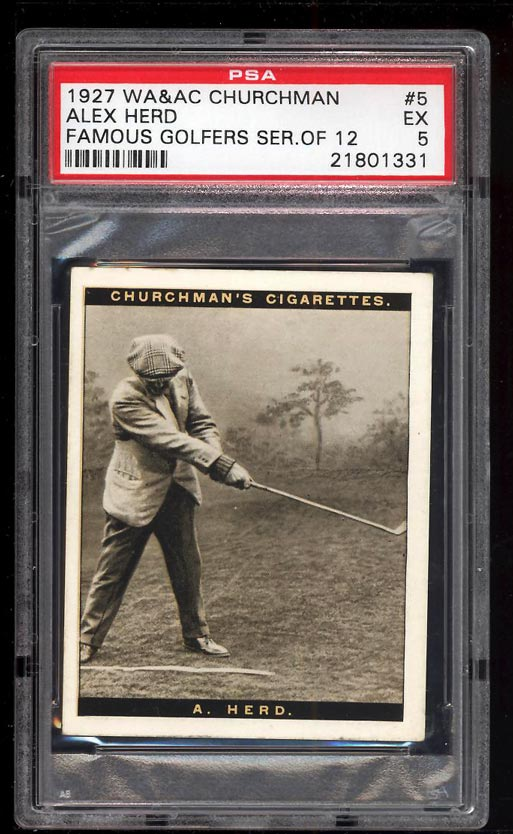 Image of: 1927 Churchman Famous Golfers Series 12 Alex Herd #5 PSA 5 EX (PWCC)
