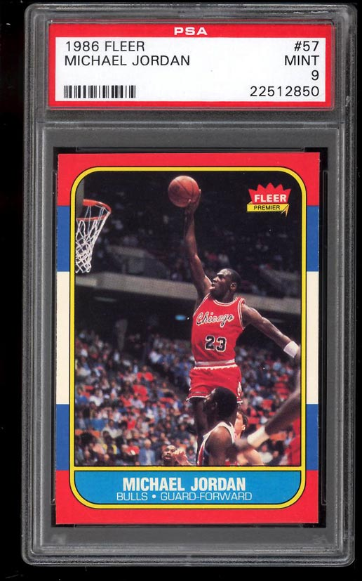 Image of: 1986 Fleer Basketball Michael Jordan ROOKIE RC #57 PSA 9 MINT (PWCC)
