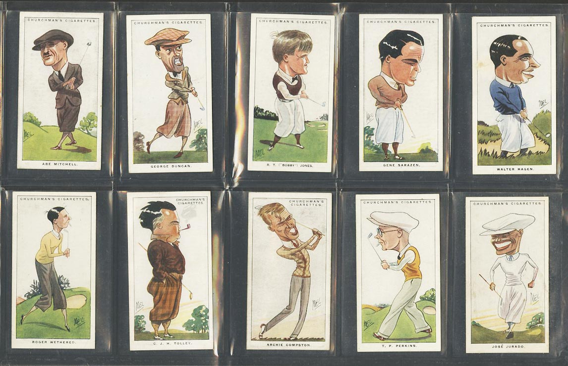 Image of: 1928 Churchman Men Sport Golf COMPLETE SUB-SET Bobby Jones Sarazen Hagen (PWCC)