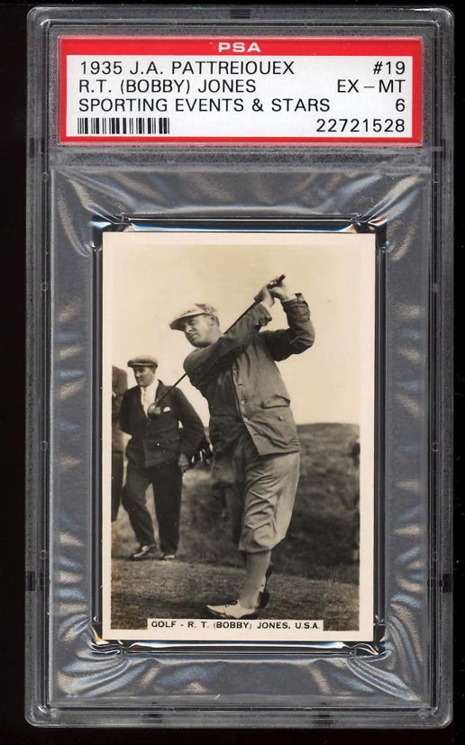 Image of: 1935 Pattreiouex Sporting Events & Stars Bobby Jones #19 PSA 6 EXMT (PWCC)