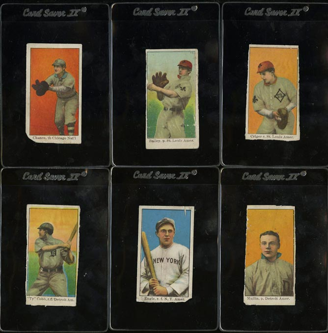Image of: Lot(6) 1909 E90-1 American Caramel w/ Ty Cobb & Frank Chance, POOR (PWCC)