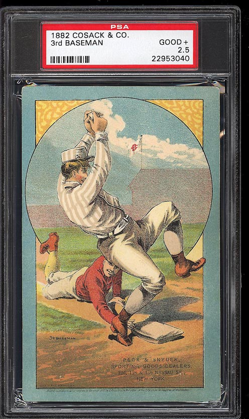 Image of: 1882 Cosack & Co. Lithographs SETBREAK 3rd Baseman PSA 2.5 GD+ (PWCC)