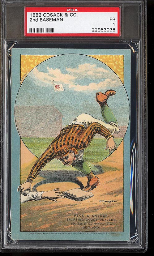Image of: 1882 Cosack & Co. Lithographs SETBREAK 2nd Baseman PSA 1 PR (PWCC)