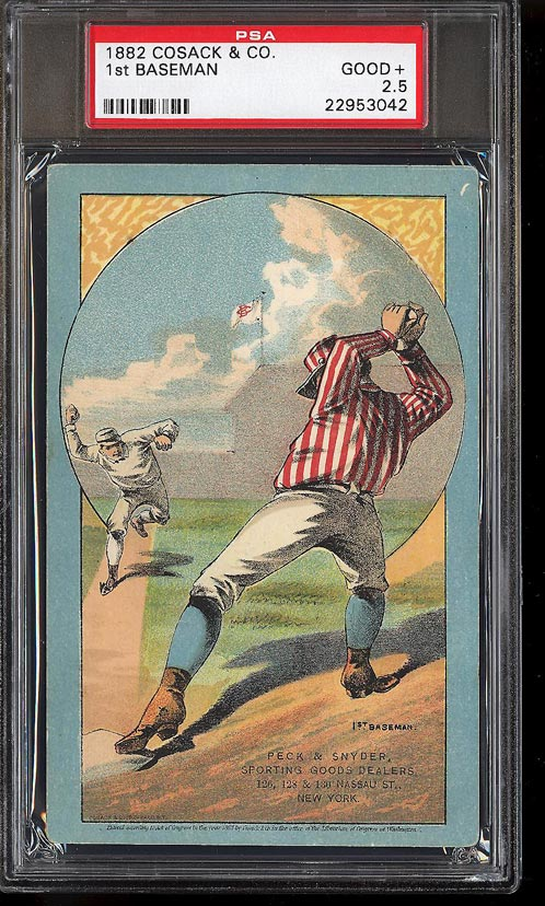 Image of: 1882 Cosack & Co. Lithographs SETBREAK 1st Baseman PSA 2.5 GD+ (PWCC)