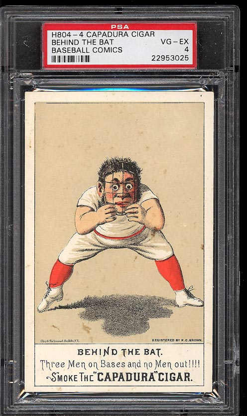 Image of: 1880 H804-4 Capadura Cigar Baseball Comics Behind The Bat PSA 4 VGEX (PWCC)
