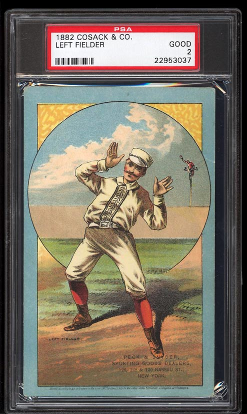 Image of: 1882 Cosack & Co. Lithographs SETBREAK Left Fielder PSA 2 GD (PWCC)