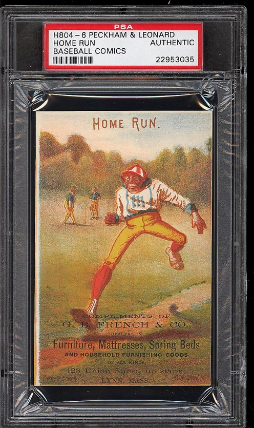 Image of: 1878 H804-6 Peckham & Leonard Baseball Comics Home Run PSA Auth (PWCC)