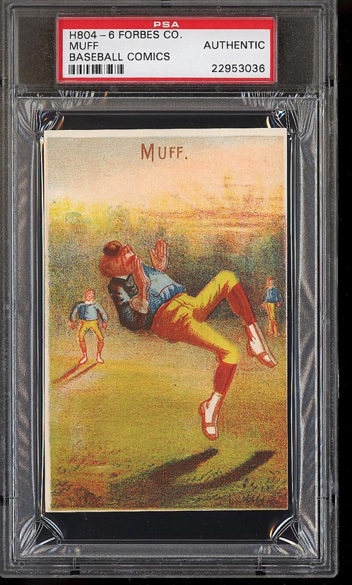 Image of: 1878 H804-6 Forbes Co. Baseball Comics Muff PSA Auth (PWCC)