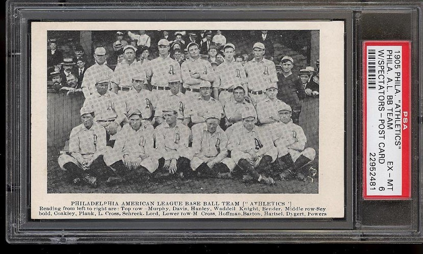 Image of: 1905 Philadelphia Athletics Postcard w/ Plank Bender & Waddell PSA 6 EXMT (PWCC)