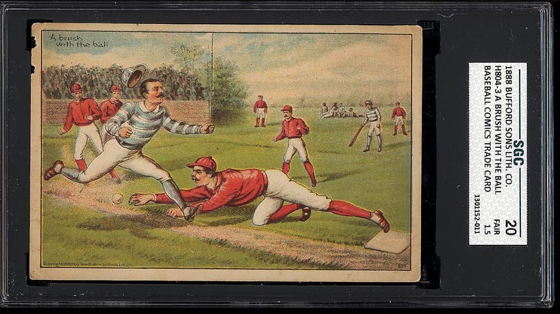 Image of: 1888 H804-3 Bufford Sons Lithographs A Brush With The Ball SGC 1.5 FAIR (PWCC)